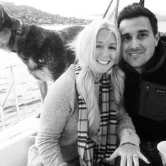 Newly engaged on the sailboat in SF bay.