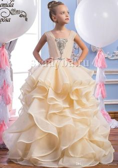 Champagne Organza Formal Flower Girl Dresses Rhinestones 2016 Toddler Girls Pageant Dresses Baby Party Ruffles Formal Kids Wedding Gowns Online with $83.67/Piece on Brucesuit's Store | DHgate.com