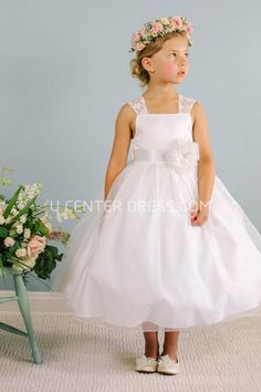fb0b73588a  56.27-Tea-Length Bowed Floral Lace amp Organza White Flower Girl Dress.  http. UCenter Dress