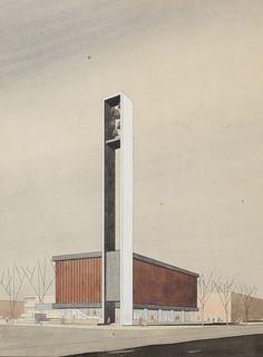 Van Bruggen, Drexhage, Sterkenburg, Bodon. Triomfatorkerk, Den Haag, ca. 1959.Collectie Het Nieuwe Instituut
