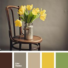 This is a spring palette. The basic colors are calm gray together with brown. As if the snow had just melted, and bare ground can be seen. However, adding a bright yellow accent gives vitality and originality to a palette. This range of colors will be appropriate for a modern stylish interior.