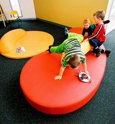 Library - kids Sofa - koush - Upholstered in tough vinyl. Commercial Interior Design, Commercial Interiors, Kids Sofa, Home Goods, Furniture Design, Custom Design, Children's Library, Learning, Projects