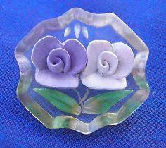 vintage Art Deco reverse carved Lucite brooch purple & lilac flowers