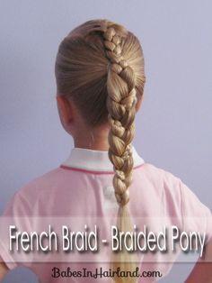 French Braid into a Braided Ponytail