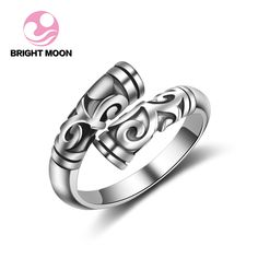 Bright Moon 2017 925 Sterling Silver Open Ring For Women Party S925 Jewelry Retro Vintage Totem Ring Best Friend Christmas Gift #Affiliate