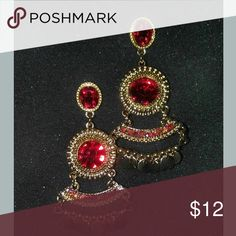 Exquisite dangle earrings Beautiful faux stone drop earrings Red and gold dangles Post earring Jewelry Earrings
