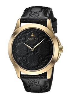Gucci Gold-Tone and Leather Casual Black Watch      Swiss made eta quartz movement     Sapphire with antireflective coating inside     Quartz Movement     Case Diameter: 38mm     Water resistant to 50m (165ft: in general, suitable for short periods of recreational swimming, but not diving or snorkeling You can look here and buy.