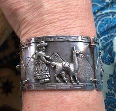 WIDE ANTIQUE VTG SIGNED PERU 925 STERLING SILVER INCA PANEL BRACELET Link Bracelets, Cuff Bracelets, Inca Empire, 925 Silver, Sterling Silver, Peru, Antique, Jewelry, Turkey