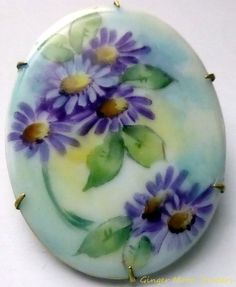 Antique Victorian Porcelain Oval Pin Hand Painted Purple Floral C clasp Brooch