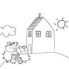 peppa pig house coloring images
