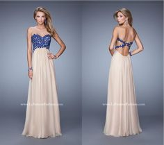 La Femme 20617 ~ chiffon prom dress ~ contrasting beaded lace top ~ open back ~ jeweled lace ~ x straps ~ long prom dress ~