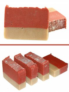 DIY Homemade Frosted Cranberry Coconut Milk Cold Process Soap Recipe - Made with skin conditioning Shea and cocoa butters and soothing coconut milk! Homemade Scrub, Homemade Soap Recipes, Homemade Yogurt, Deli News, Handmade Soaps, Diy Soaps, Lotion Bars, Milk Soap, Cold Process Soap