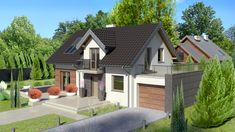 This is a house plan of a house that is simple and compact and still offers a lot of space inside. The facade of the house shows two levels and a gorgeous outdoor landscape. Simple House Plans, Tiny House Plans, Space Architecture, Outdoor Landscaping, Home Fashion, Facade, Shed, Outdoor Structures, House Design
