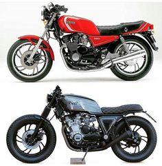 by @boltmotorcompany  Before & After.  #beforeandafter #before&after #instamoto #builtnotbought #stocksucks #ride #ride_like_hell #saintmotors #saint_motors #kustom #kulture #yamaha