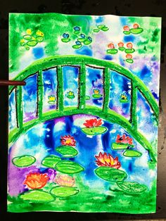 From 'SmArt Class'- Monet's water lilies using oil pastel, The Lillypad's are larger in the bottom and get smaller as they go upwards towards the back. Watercolor. Is dabbed on with the rack at first and then brush is used, salt is added at the end for Texter.