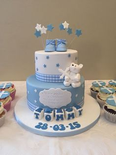 Here's a cake we made for Tommy's Christening yesterday. With sugarpaste teddy bear & baby blocks it's an adorable centrepiece for a special occasion. Congratulations to baby Tommy & his family x Baby Shower Cakes For Boys, Baby Boy Cakes, Baby Boy Shower, Baby Shower Parties, Christening Cake Designs, Baby Boy Christening Cake, Teddy Bear Cakes, Cupcakes For Boys, Shower Bebe
