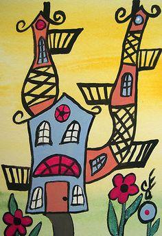 """The Crazy Fun House"" Original Painting  Artist Trading Card Julie Ellison Artist"