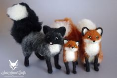 needle felting red and silver fox