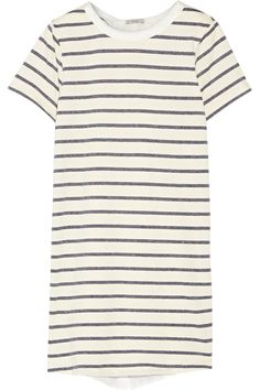 CLU Washed silk-paneled striped cotton-blend mini dress. #clu #cloth #dress