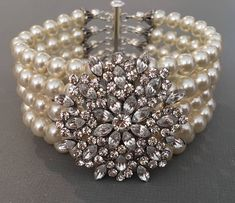 Items similar to Bridal Jewelry Set Pearl Necklace with Brooch Bracelet and Earrings multi strand Swarovski Pearls with rhinestone wedding jewelry sets gifts on Etsy Bridal Bracelet, Pearl Bracelet, Pearl Jewelry, Swarovski Bracelet, Jewelry Bracelets, Wedding Bracelets, Ankle Bracelets, Glass Jewelry, Silver Bracelets