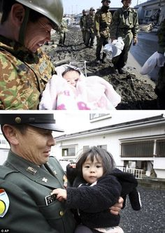 Then and now: Koji Chiba, a member of Japan's Self-Defense Force, rescued four-month-old Iroha Ishikawa in Ishinomaki; he is shown below holding the girl, now 16 months old, on the anniversary of the earthquake Japan Earthquake, Chiba Japan, Military Special Forces, Fukushima, Fake Photo, Create Awareness, Family Movies, Tsunami, Self Defense