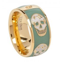 Fashionable skull ring from no other than the Alexander McQueen collection. This ring is made of gold  and enamel with the iconic skull image all over the ring's face. The design is as usual, edgy, like most of the collection from this designer. I like the enamel in green as it gives this ring a casual, softer look.    You can get this from Harvey Nichols.
