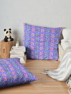 Violet Stripes with Flowers  Floor Pillows by #Gravityx9 at #Redbubble ~ Doodle art, hand drawn flowers with two shades of ultra violet stripes. ~ #homedecor #Floorpillows #pillows #pillow #ultraviolet #violet #purple #stripes #stripeddecor