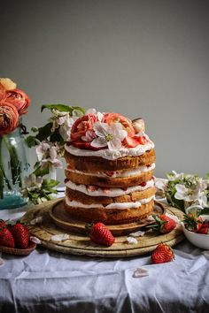 Strawberry milk tres leches cake