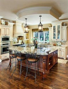 Cream Colored Kitchens Traditional Island Style Cream Kitchen Cabinets Other Cream Cabinets Green Countertops Cream Colored Kitchen Cabinets, Cream Colored Kitchens, Cream Cabinets, Kitchen Cabinet Colors, White Kitchen Cabinets, Kitchen Paint, Kitchen Redo, Kitchen Colors, Kitchen Ideas