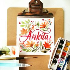 To @ankita.t I hope you are having a good evening #calligrafikas #brushlettering #watercolor     Paper: Canson 200gsm Paint: W&N Cotman watercolors Brush: Kuretake waterbrush in fine & Escoda round no 6