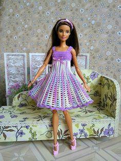 Barbie clothes Dress GalactikaMagicThread: Barbie fashion doll dress crochet Barbie clothes Rainbow Wonderful Dress GalactikaMagicThread: Can I figure out how to make this? Crochet Doll Dress, Crochet Barbie Clothes, Barbie Clothes Patterns, Doll Dress Patterns, Bright Dress, Coral Dress, Barbie Dress, Fashion Dolls, Etsy