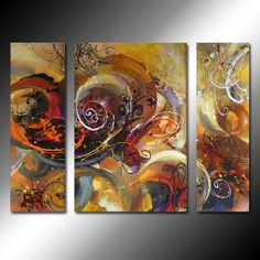 A Chaotic World Oil Painting - Set of 3 - Free Shipping