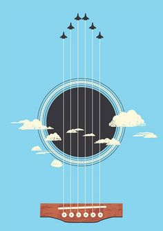 25 Excellent Negative Space Artworks For Inspiration - Sky Guitar