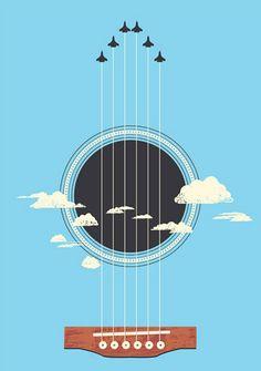 25 Excellent Negative Space Artworks For Inspiration - Sky Guitar