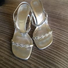 Stuart Weitzman Swarovski crystal heels Heels/sandals lined with Swarovski crystals. Bottoms are slightly scuffed from wearing. No crystals are missing. Leather straps. Perfect for a wedding! Stuart Weitzman Shoes Heels