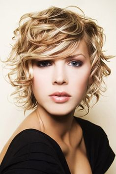 Wicked Blonde Curly Pixie with Side Swept Bangs