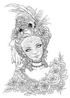 Skull Coloring Pages, Halloween Coloring Pages, Adult Coloring Book Pages, Printable Adult Coloring Pages, Cute Coloring Pages, Coloring Pages To Print, Animal Coloring Pages, Coloring Books, Maquillage Halloween