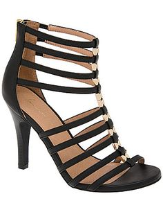 With a sexy, strappy front and hardware detailing, our caged heeled sandal amps up the attitude on sunny days and sultry nights. A fierce, fashionable finish to everything from jeans to formal dresses, this sexy sandal elevates your look with a stiletto heel and zip-up back. In wide widths for all day comfort, with stretchy straps for easy-wearing give.  lanebryant.com @CarolynJoan91  these are sexy too!