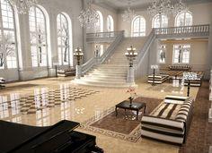 High gloss #porcelain #tiles providing light and spaciousness to the spaces. #interiordesign #ceramics