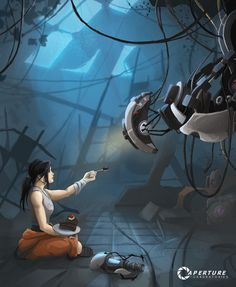 """There are so many theories to this game. One of my favorite is that Chell is the daughter of Caroline and Cave Johnson. Just translate the song the turrets sing at the end of the game and it will open your eyes. """"Cara Mia Addio"""""""