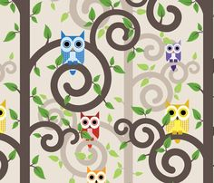 Owls in Swirly Trees fabric by studiofibonacci on Spoonflower - custom fabric