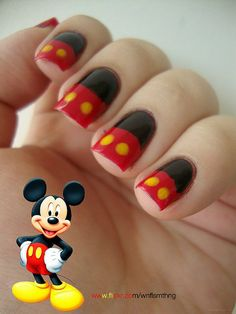 Mickey Mouse! Paint black. Tape halfway. Paint bottom red. Yellow dots. Done!!