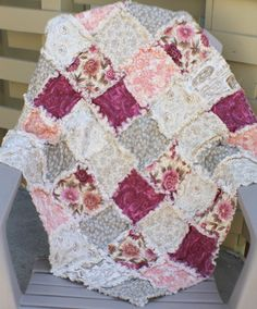 Ready To Ship  Coral  Magenta  Cream  Tan  by modernragquilts, $70.00
