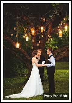 This is a beautiful and totally inexpensive way to decorate a backyard wedding ceremony. Photography: Steven Michael Photography via Huffington Post backyard wedding Outdoor Wedding Ideas that are Easy to Love - MODwedding Wedding Ceremony Decorations, Ceremony Backdrop, Backdrop Ideas, Altar Decorations, Backdrop Lights, Wedding Lanterns, Backdrop Wedding, Wedding Centerpieces, Decor Wedding