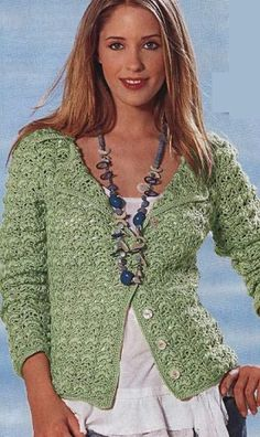 "Green Jacket - sweaters, jackets, boleros - knit for ""a favorite"" - Publisher - vyazalochkam-umelitsy Crochet Jacket, Crochet Cardigan, Crochet Top, Crochet Woman, Crochet Fashion, Crochet Clothes, Clothing Patterns, Sweaters For Women, Tunic Tops"