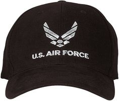 2ab99e83d5d U.S. Air Force Cap - Black - Deluxe Low Profile Baseball Hat - Comfortable  Brushed Cotton