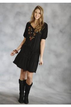 Roper C/r Jersey Dropped Waist Dress Studio West- Harvest Moon Long Sleeve Urban