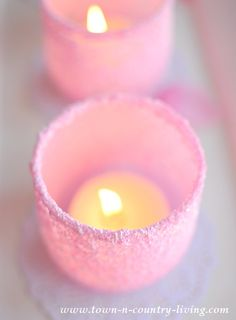 Make your own frosted votive candle holders using tumblers and Epsom salts dyed with food coloring. It's an easy project that looks oh so pretty when done.