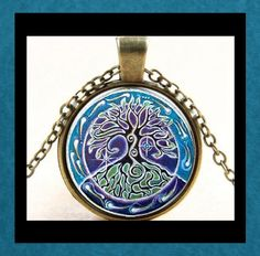 NEW - NATURE'S TREE OF LIFE GLASS OPTIC CABOCHON PENDANT BRONZE CHAIN NECKLACE #Handmade #Pendant