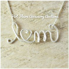 Sterling Silver Custom Wire Name Necklace Go to:  facebook.com/hotflairs  etsy.com/hotflairs